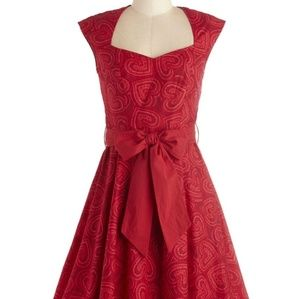 EUC MODCLOTH HIGH NOON HARVEST DRESS IN HEARTS  4X